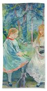 Young Girls At The Window Beach Towel by Berthe Morisot
