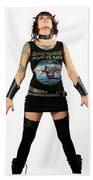 Young Heavy Metal Female Punk Fan Standing Tall With Horns Pierc Beach Towel