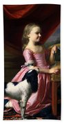 Young Lady With A Bird And A Dog Beach Towel