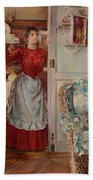 Young Man On A Door French Room, Emilio Beach Towel