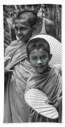 Young Monks 2 Bw Beach Towel