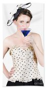 Young Woman Drinking Alcoholic Beverage Beach Towel