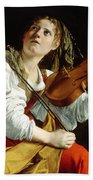 Young Woman With A Violin Beach Towel