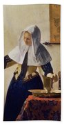 Young Woman With A Water Jug Beach Towel by Jan Vermeer