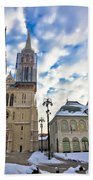 Zagreb Cathedral Winter Daytime View Beach Towel