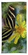 Zebra Longwing Butterfly Beach Towel