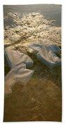 Zinc Sculptures On The Beach At Sunset Beach Towel