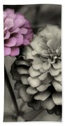 Zinnia Flower Pair Beach Towel