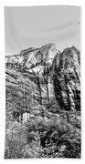 Zion National Park Utah Black White  Beach Towel