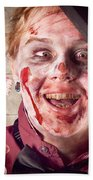 Zombie At Dentist Holding Toothbrush. Tooth Decay Beach Towel