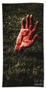 Zombie Rising From A Shallow Grave Beach Towel