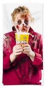 Zombie Woman With Popcorn Beach Towel