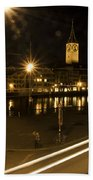 Zurich At Night Beach Towel