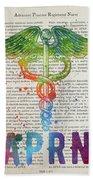 Advanced Practice Registered Nurse Gift Idea With Caduceus Illus Beach Sheet