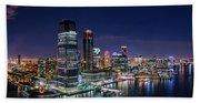 Aerial Panorama Of Jersey City Beach Towel