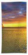 Amazing View Of Le Morne Brabant At Sunset.mauritius. Panorama Beach Towel