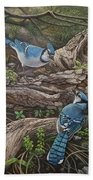 Blue Jay Stand Off Beach Towel