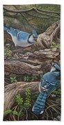 Blue Jay Stand Off Beach Sheet