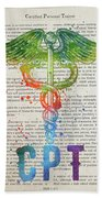 Certified Personal Trainer Gift Idea With Caduceus Illustration  Beach Towel