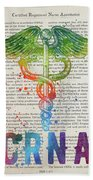 Certified Registered Nurse Anesthetist Gift Idea With Caduceus I Beach Towel
