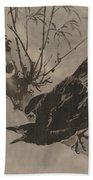 Crow On A Branch Beach Towel