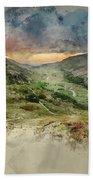 Digital Watercolor Painting Of Beautiful Dramatic Landscape Imag Beach Towel