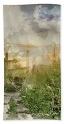 Digital Watercolor Painting Of Beautiful Vibrant Summer Sunrise  Beach Towel