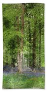 Digital Watercolor Painting Of Stunning Bluebell Forest Landscap Beach Towel