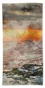 Digital Watercolor Painting Of Stunning Winter Panoramic Landsca Beach Towel
