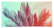 Duotone Background Of Tropical Palm Leaves Beach Towel
