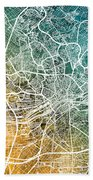 Frankfurt Germany City Map Beach Towel
