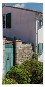 french houses in the streets of Saint Martin de re Beach Towel