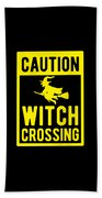 Halloween Shirt Caution Witch Crossing Gift Tee Beach Towel