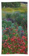 Indian Blanket Flowers And Opuntia Beach Sheet