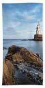 Lighthouse In Ahtopol, Bulgaria Beach Towel