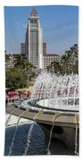 Los Angeles City Hall And Arthur J. Will Memorial Fountain Beach Towel