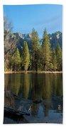 Merced River Reflection, Yosemite National Park Beach Towel