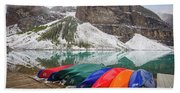 Moraine Lake Canoes Beach Towel