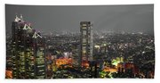 Mostly Black And White Tokyo Skyline At Night With Vibrant Selective Colors Beach Sheet