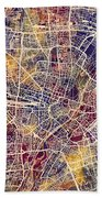 Munich Germany City Map Beach Towel