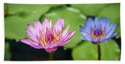 Pink Lotus Water Flower Beach Sheet