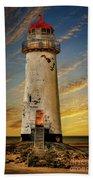 Point Of Ayr Lighthouse Sunset Beach Towel