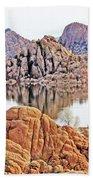 Prescott Arizona Watson Lake Rocks, Hills Water Sky Clouds 3122019 4868 Beach Towel