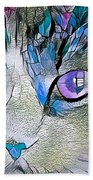 Purple Stained Glass Kitty Beach Towel by Don Northup