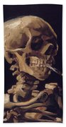 Skull With Cigarette  Beach Towel