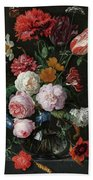 Still Life With Flowers In A Glass Vase, 1683 Beach Towel