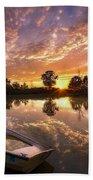 Sunset Boat Beach Towel