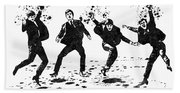 The Beatles Black And White Watercolor 01 Beach Towel