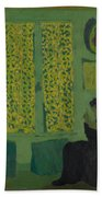 The Green Interior  Figure Seated By A Curtained Window   Beach Towel