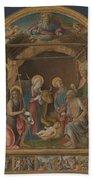 The Nativity With Saints Altarpiece  Beach Towel